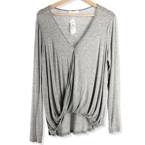 NWT LUSH Draped Front Long Sleeve Blouse Top